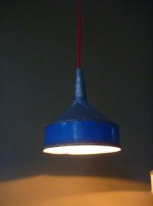Rustic metal light shades. Love the colours here.
