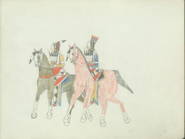 Plains Indian Ledger Art: Etadleuh Doanmoe Sketchbook - Rice County Historical Society - Couple Riding