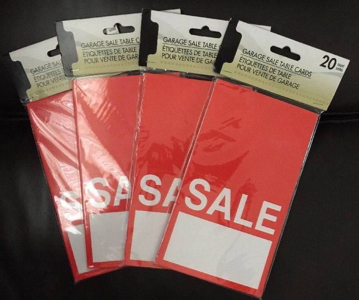 Sale Table Cards Lot of 80 Garage Sale Red Tags Store Supplies 4 Pack Of 20 Card  | eBay
