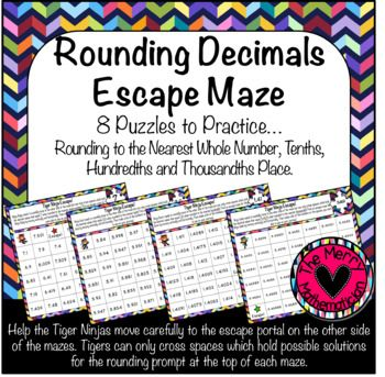 This product includes 8 mazes to give your students lots of practice rounding decimal numbers. You can differentiate game play by assigning specific place values to different groups of students. Each maze can be solved only by testing each space to see if the rounded value equals the target number.