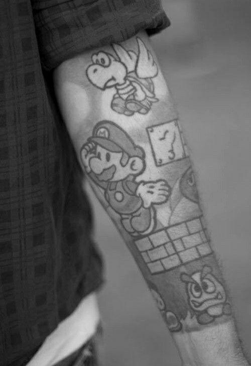 Shaded mario tattoo