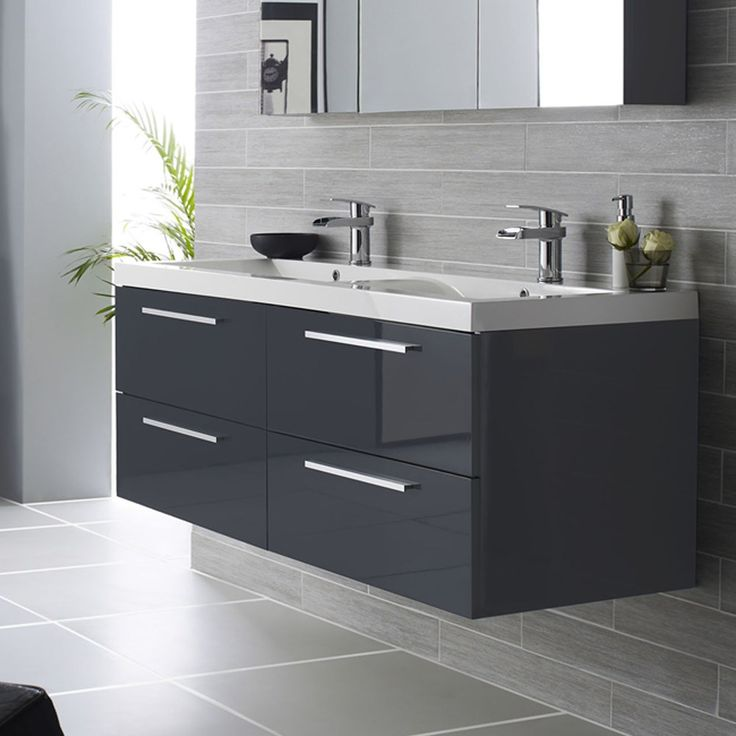Hudson Reed Quartet Wall Mounted Double Vanity Unit & Polymarble Basin - High Gloss Grey - 1440mm (Would want single sink with workspace)