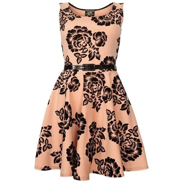Parisian Apricot Flocked Floral Dress (295 MXN) ❤ liked on Polyvore featuring dresses, vestidos, short dresses, floral dress, short flared dresses, red mini dress, short a line dresses and a line dress