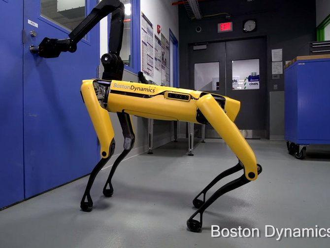 Boston Dynamics SpotMini robot dog can open doors now - CNET