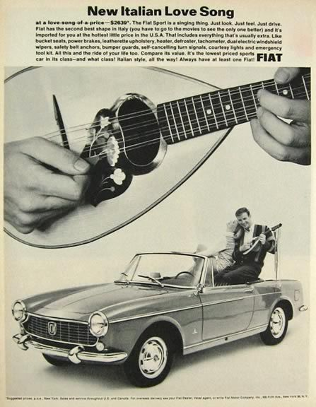 1964 Fiat Sport Convertible Ad ~ Italian Love Song