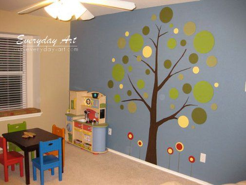 Like the round leaves. It's easy and simple yet still an artful mural. #makingkidscorner