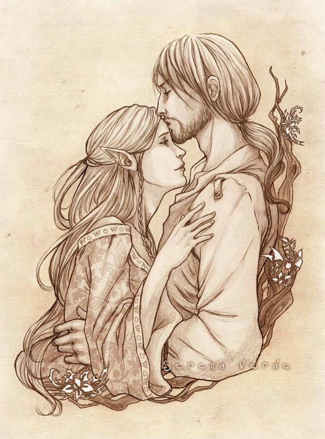 Beren and Lúthien-- I think this is the prettiest drawing of them I've ever seen