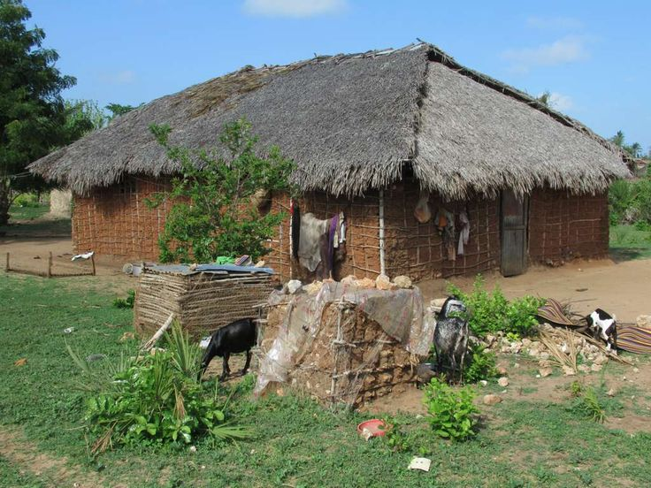 This thatched village house on Kilwa Kisiwani Island is typical of rural dwellings in Tanzania.