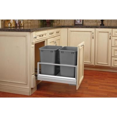 Rev-A-Shelf 14 in. H x 11 in. W x 11 in. D 14-Liter Pivot-Out Lacquered White Under Sink Waste Container-8-010212-14 - The Home Depot