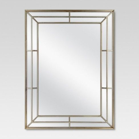 Give any room in your home a style refresh with this Rectangle Beveled Decorative Wall Mirror from Threshold™. This beveled wall mirror features a subtle shine on the light finish — perfect for adding extra brightness and interest to any room. The linear design of the frame creates a unique pattern and texture which can add a pop of style to any room. Use this modern yet functional mirror to add depth and dimension to small or dimly lit spaces in your home. Hang in your bat...