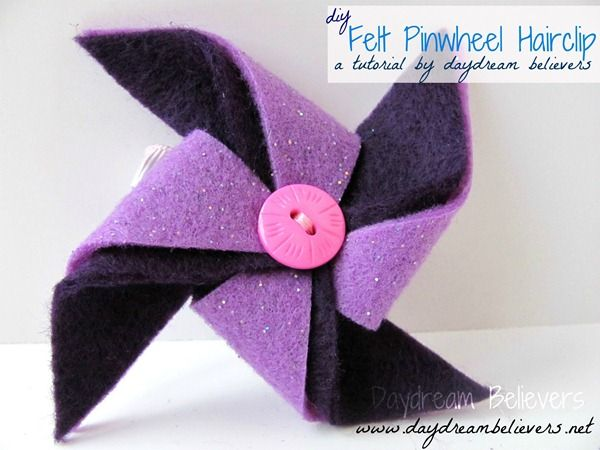 Felt pinwheel DIY Such fun hair bows for little girls. I can't wait to try one. http://www.daydreambelievers.net/2012/04/tutorial-felt-pinwheel-hair-clip.html