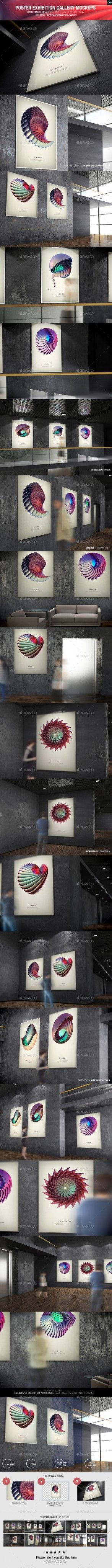 6 poster design photo mockups 57079 - Poster Exhibition Gallery Mockups Graphicriver