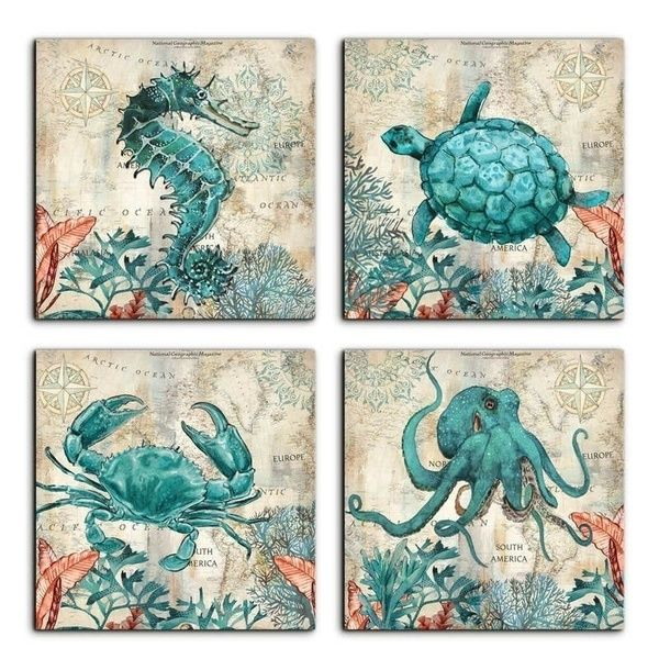Beach Coastal Wall Art Decor For Bathroom Canvas Print Picture Sea Turtle Horse Octopus Crab Posters Decorative Painting Home Living Room Bedroom Wall Decoratio Coastal Wall Art Home Wall Art Beach