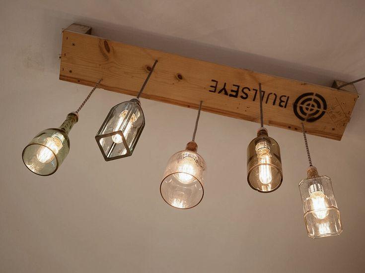 Lámpara pallet con botellas recicladas, linea Ecodiseño. #lamp #ecodesign #pallet #bottle