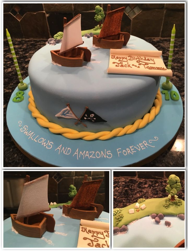 Swallows and Amazons Birthday Cake Fondant and pastillage with wafer paper sails