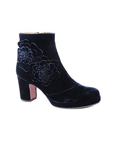 1a6d995fead6 Beautiful Chie Mihara Fashion forward ankle boot Azumi Velvet Navy Item  Code  Azumi Color  Blue   Navy Ankle boot in soft blue   Navy velvet with  beautiful ...