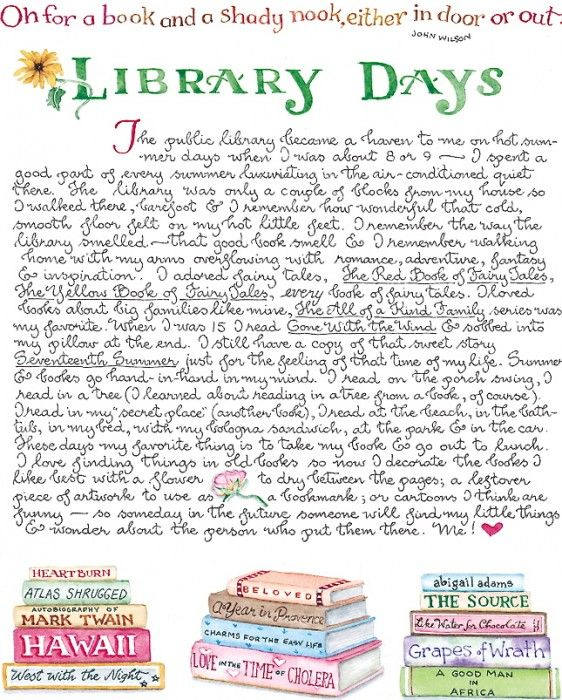Library Days! Reminds me of my closest friend Melissa. We're both book nuts at heart.