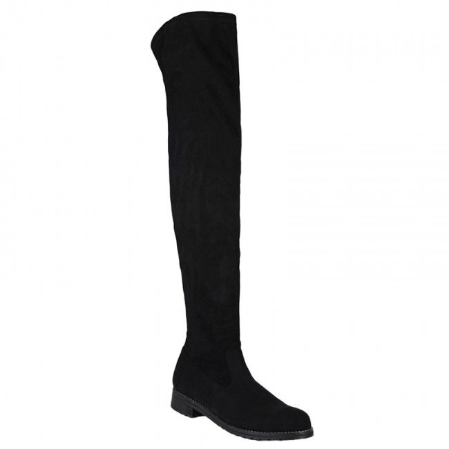 http://www.bigshoes.gr/womens-shoes/boots/mx-2507.html  Women's rubber boots suede over the knee in black. With side zipper for what easy application, perfect for impressive performances. With leather lining. In large sizes of Big Shoes.