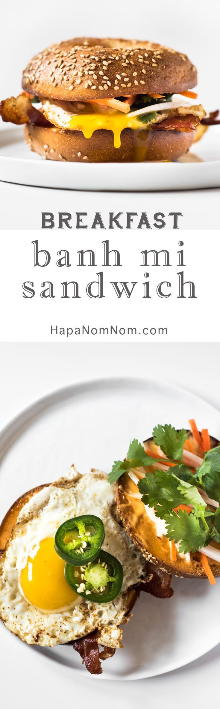 This Breakfast Bánh Mì is a bagel topped with bacon, a fried egg ...