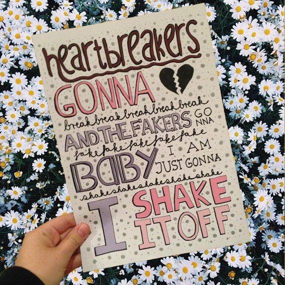 Lyric Art Shake It Off  Taylor Swift by drawingsbynina on Etsy