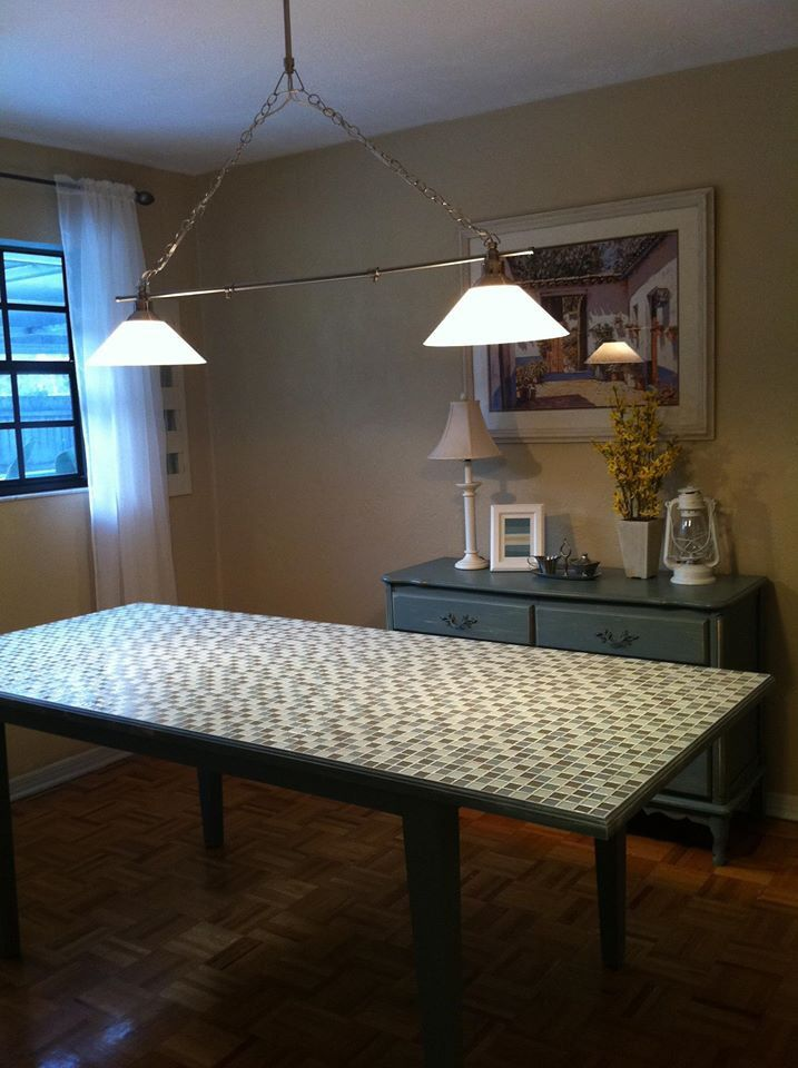 Custom Made Tile Top Table With Metal Flake In The Grout
