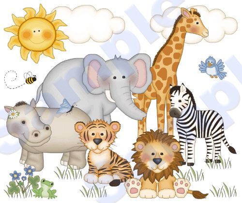 how to draw jungle animals | Jungle ZOO Animals Wall Mural Decals Baby Nursery Kids Room Zebra ...