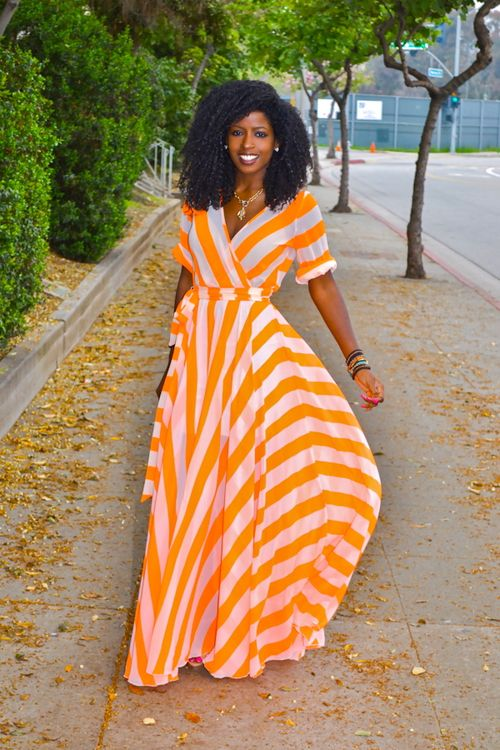 Long sleeved maxi wrap dress in tangerine and cream
