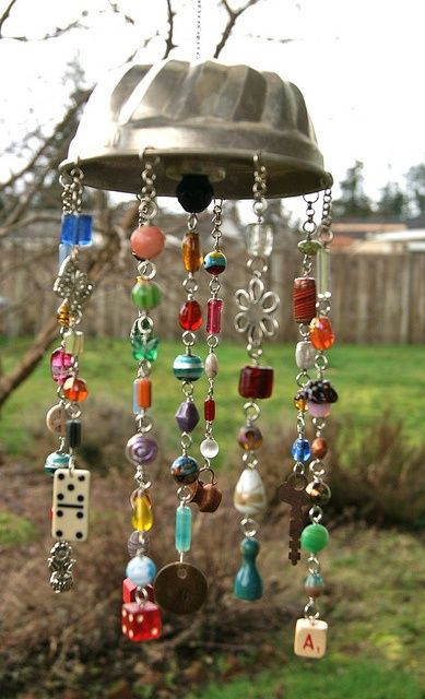 What a fun wind chime to make! Jello mold or bundt pan,