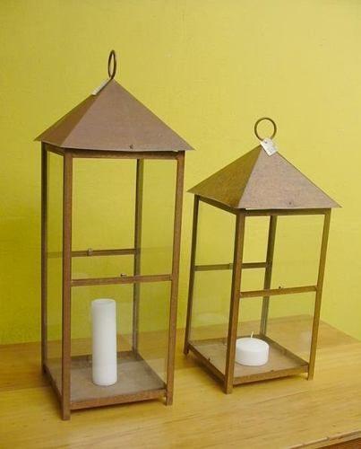fanales piramidal chapa de hierro c/vidrio decapados blancos