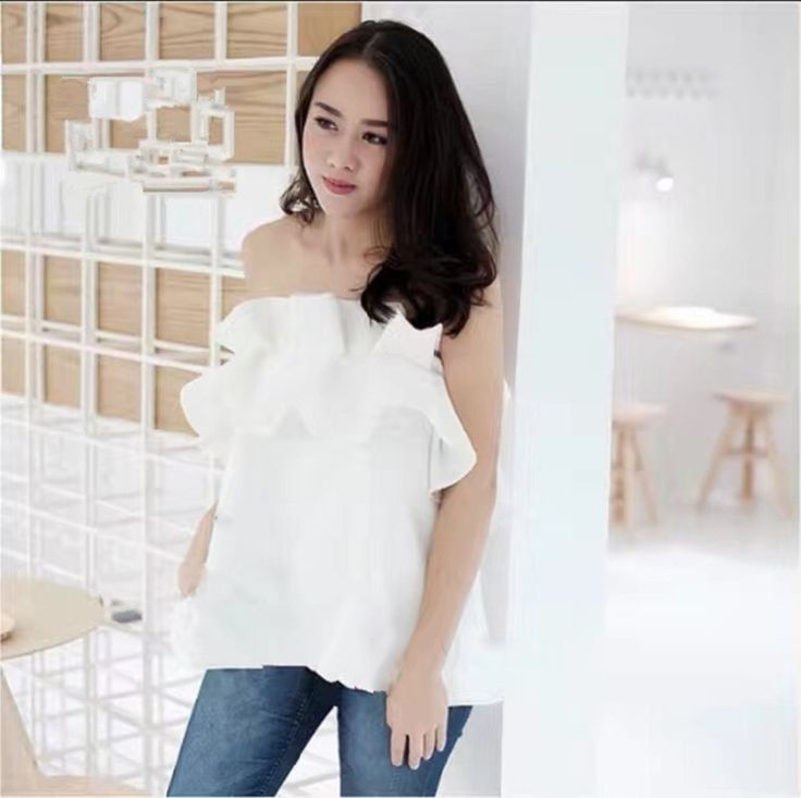 NEW SALE  Miiss modiern Cascading Ruffle Solid Color Sexy Tube Top Blouse Shirt Black  White Apricot  Red color ** AliExpress Affiliate's Pin. Locate the offer simply by clicking the VISIT button