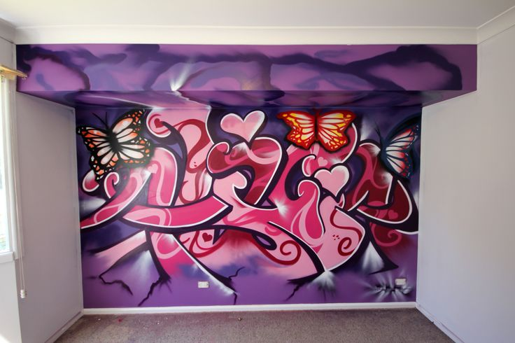 "Kids names in graffiti - Direct to wall from $700.00. Shown, girls room ""Alicia"" Contact email: kilproductions@bigpond.com"