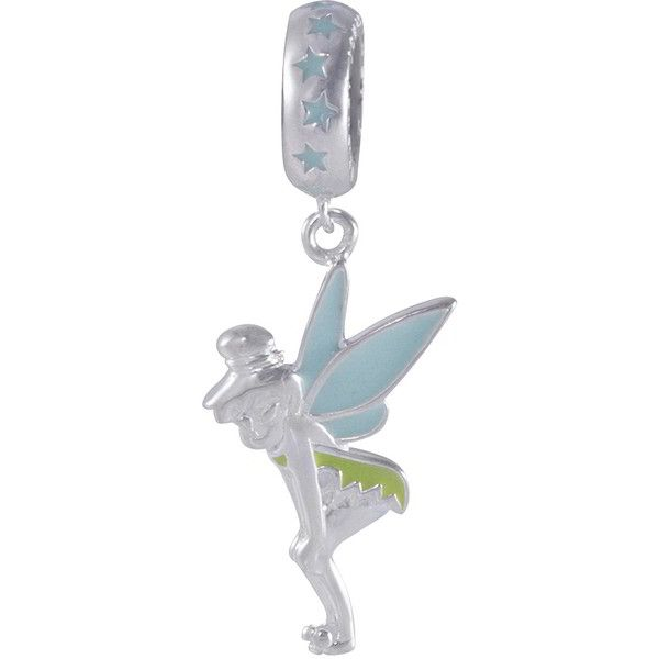 Disney Tinkerbell Dangle Bead in Sterling Silver ($40) ❤ liked on Polyvore featuring jewelry, pendants, silver, peter pan jewelry, sterling silver bead jewelry, beading charms, bead charms and dangling jewelry