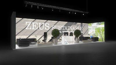 431 Heizungsanlagen Zeus Sustainable   Beeindruckender Messestand für einen Hersteller von Heizungsanlagen.   Der weiße Logodruck in großen Lettern auf der hinterleuchteten Rückwand sch...