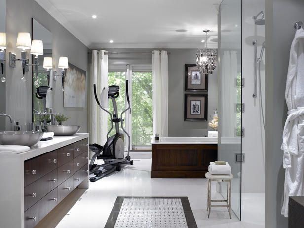 A pretty space and hey, after you're done sweatin' on the exercise equipment you can hop right in the shower!