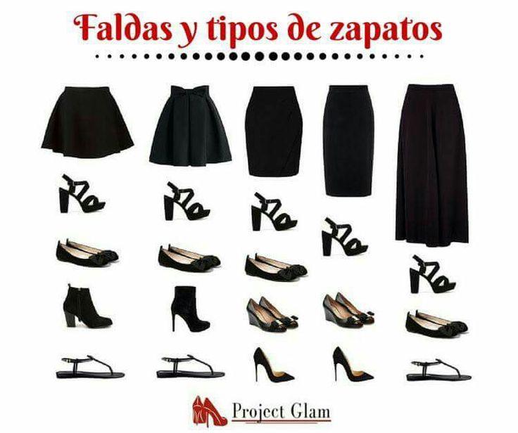 cómo combinar ropa, combinar zapatos y faldas