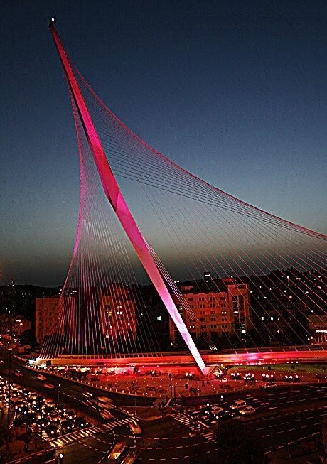 Light Rail Train Bridge; Jerusalem, Israel; designed by Santiago Calatrava.