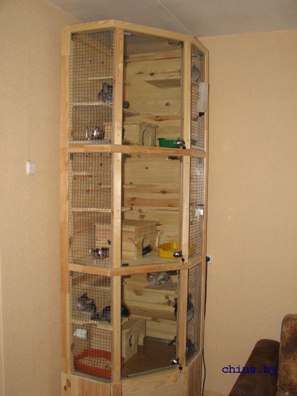 Super Tall Three Level Wooden Chinchilla Cage