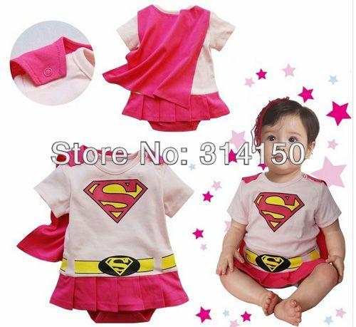 Девочка розовый детские комбинезоны дети девочка супермен дизайн один - кусок ползунки младенческой чистый хлопок комбинезоны 1 шт.