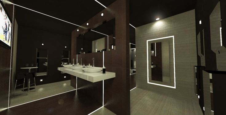 Very modern bathroom with led lighting in nightclub for Very modern lighting