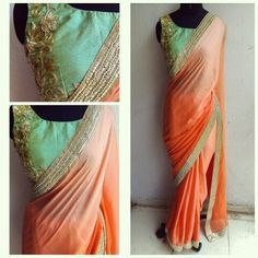PEACH BLOSSOM Luxury personafied.....!!!!! The peach to peach ombre satin georgette sari is custom dyed to perfection. The pearl and gold embellished border is beautifully paired for a subtle yet effective look. The blouse is custom designed and embroidered. We've used full gold zardosi/bead and sequin embroidery to work a sea green pure raw silk blouse in a feminine design. You have the choice of a worked but unstitched blouse as well but this sari is a MUST HAVE!!!!!