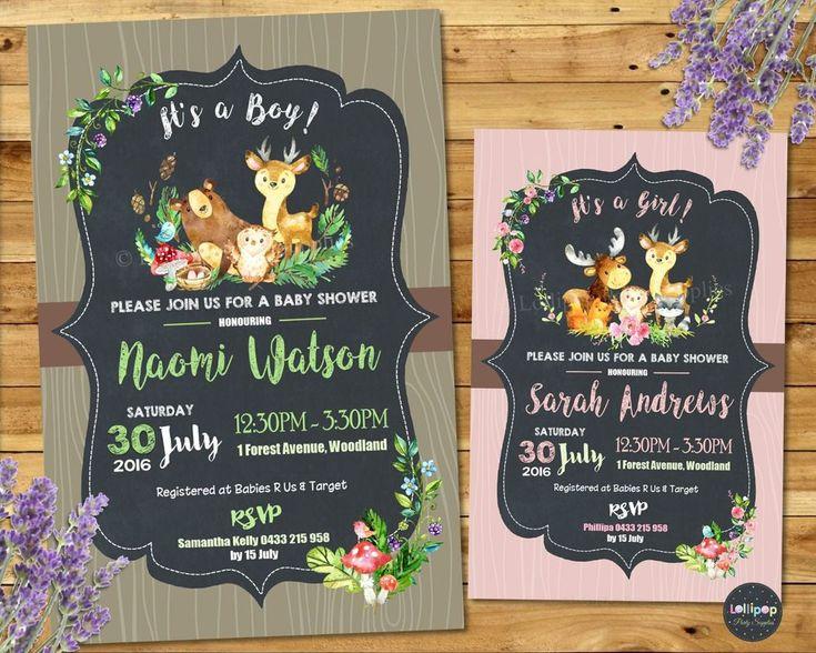 Woodland Baby Shower Invitations - Baby Boys and Baby Girls - Printed or Digital - Ship Worldwide.  Visit www.lollipoppartysupplies.com.au