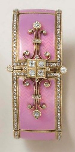 AN ANTIQUE ENAMEL AND DIAMOND BANGLE BRACELET. Of articulated design, the pink opalescent guilloché enamel panels with rose-cut diamond borders, joined by a central old European-cut diamond four-stone plaque, flanked on either side by scrolled knife-edge detail, enhanced by rose-cut diamonds, mounted in 18k gold, circa 1880, with French assay marks and maker's marks, in a brown leather fitted retailer's case.
