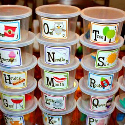 Busy Bins = Make Alphabet Tubs ... Ask a Grocery Store Deli If I Can Have Some Plastic Containers. Put Small Objects to Represent Each Letter in the Individual Letter Container.