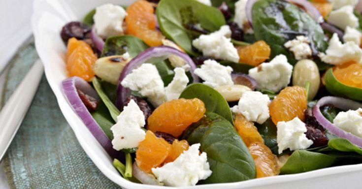Mandarin Orange, Goat Cheese and Spinach Salad