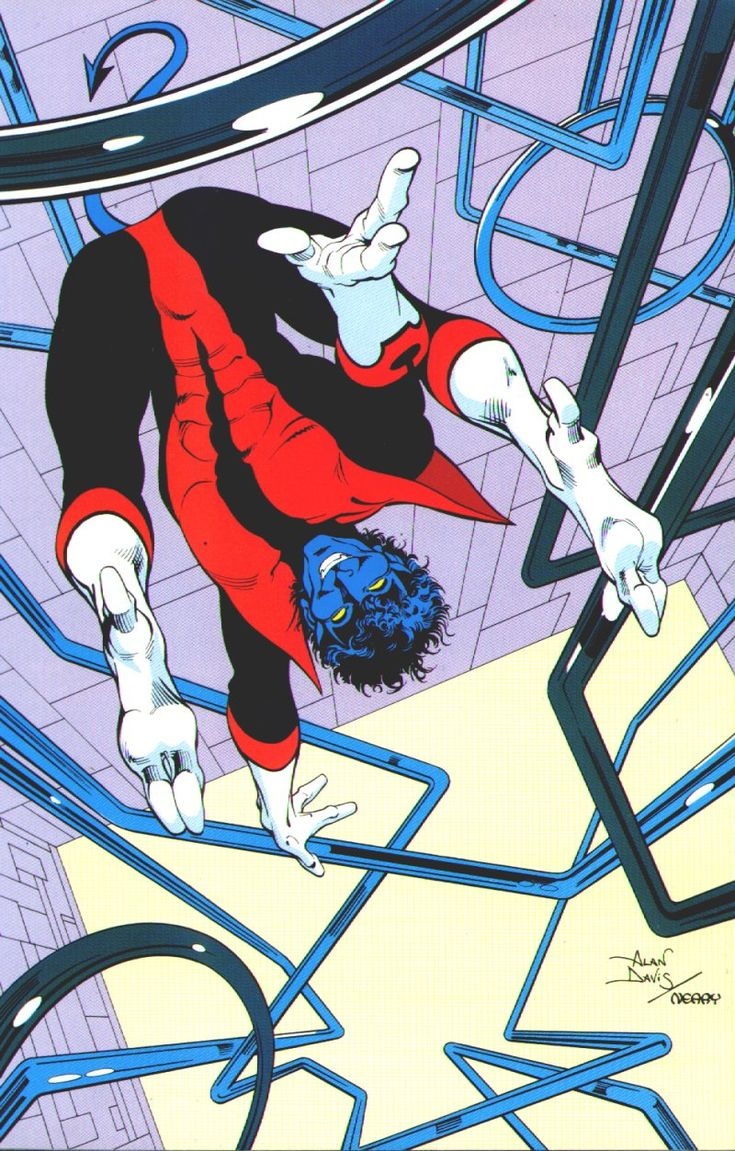 More pin-ups from Excalibur: this is Nightcrawler, drawn by Alan Davis. This is quintessential Nightcrawler and Alan: a happy superhero drawn in fluid, dynamic athleticism [via the Marvel comics of the 1980s blog].