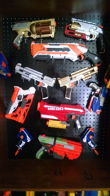 #Nerf #Storage Fun project with my son to clean up all his Nerf. We used a tall bookshelf and pegboard