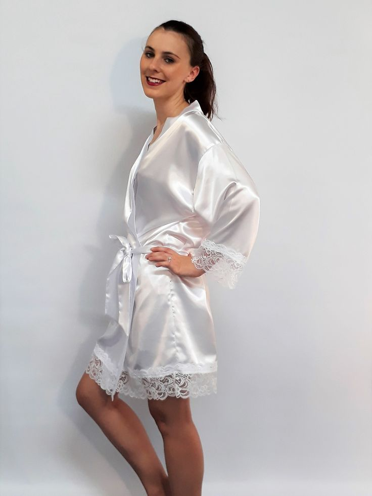 Lily White Satin and Lace Robe  - a generous overlay that you can wrap yourself up in! Range of gorgeous colours @ www.angiejcollection.com.au