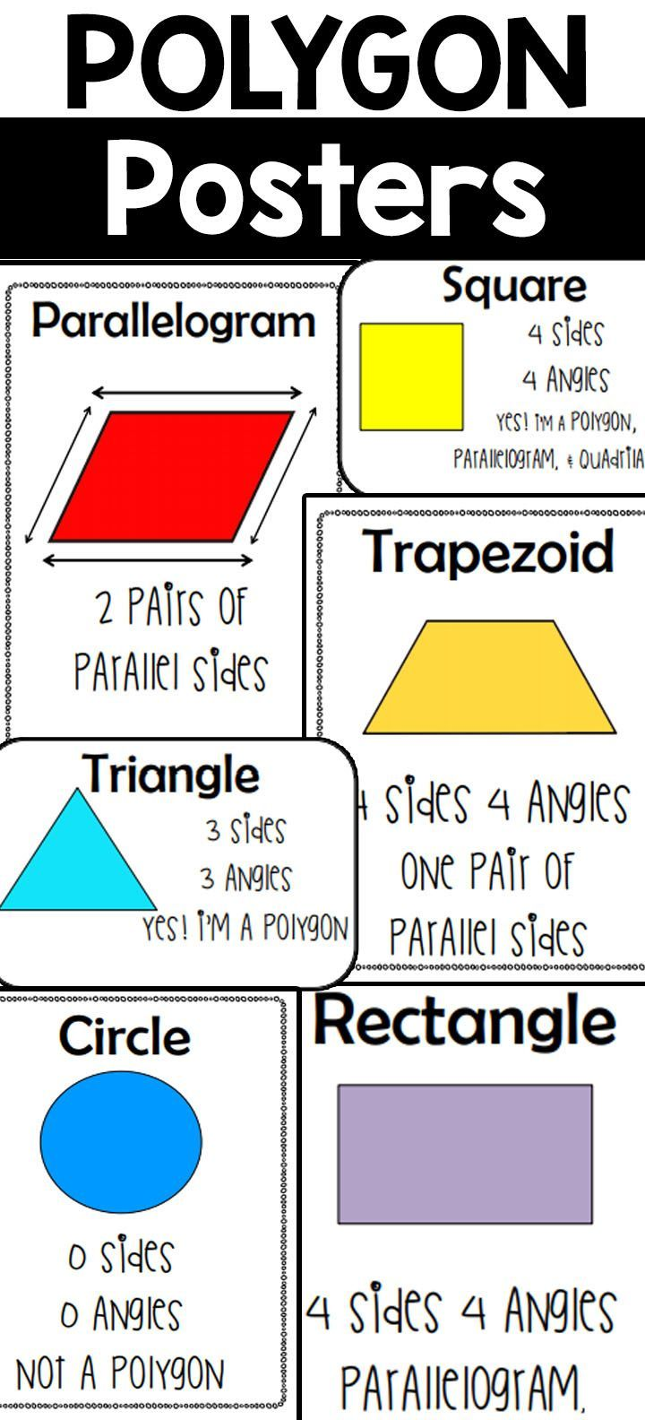 This Includes Large Paper Size Posters And Mini Posters For The Following Triangle Square Pentagon Hexa Elementary School Resources Teaching Math Math Lessons [ 1584 x 720 Pixel ]