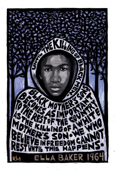 """The Love Don't Change Neither Does The Separation. """"Trayvon Martin"""" by Ricardo Levins Morales"""