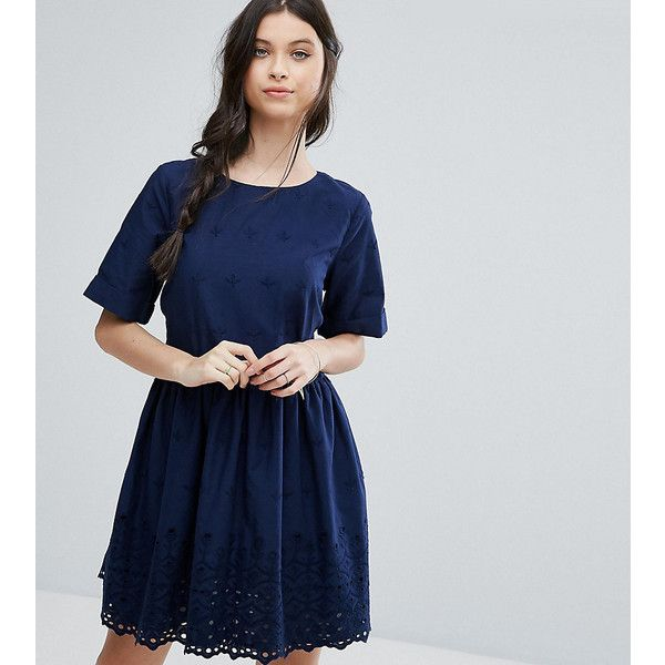 ASOS PETITE Broderie Smock Dress with Open Back Detail ($56) ❤ liked on Polyvore featuring dresses, navy, petite, short dresses, embroidered mini dress, navy embroidered dress, navy short dress and open back short dresses